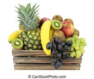 가득하다, 다채로운, 멍청한, 포도 수확, 나무 상자, 과일, 신선한