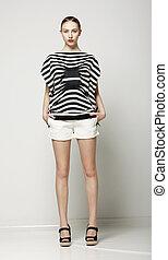 가득하다, 반바지, shirt., 현대, 회색, 수집, 길이, 여자, 유행의, 줄무늬가 있는, 무심결의