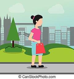 가방, 쇼핑하고 있는 여성, 보유, 시장