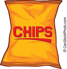 가방, 칩, 감자