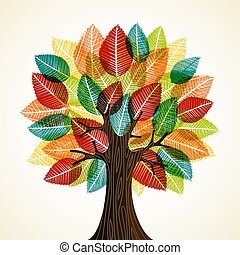 가을의 잎, 개념, 나무, 자연