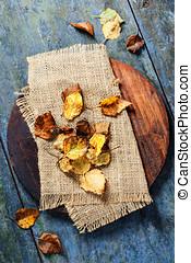 가을, 개념, 와, 잎