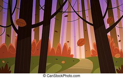 가을, 길게 나부끼다, 숲
