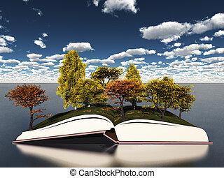가을 나무, 통하고 있는, 책