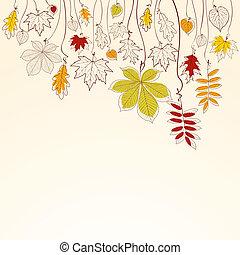 가을, 낙엽, 배경