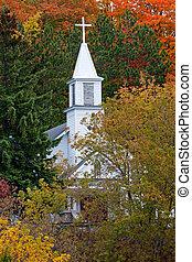 가을, 백색, 교회 뾰족탑