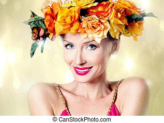 가을, 사진, 의, 젊은 숙녀