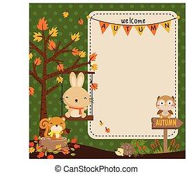 가을, 삼림지, 동물, 카드