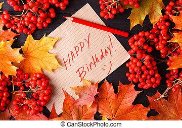 가을, 상표, 와, 그만큼, 낱말, 생일 축하합니다, 통하고 있는, 그것
