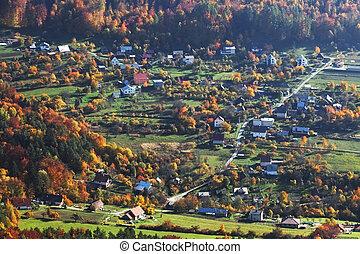 가을, 시골, 슬로바키아 공화국, 마을