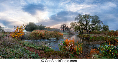 가을, 아침, 강, 와, 안개