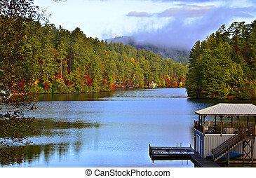 가을, 아침, 통하고 있는, 그만큼, 호수