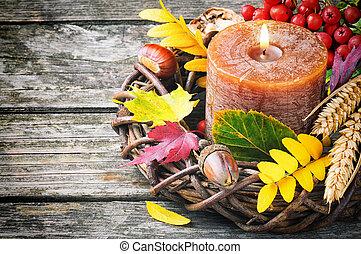 가을, 양초, 화환