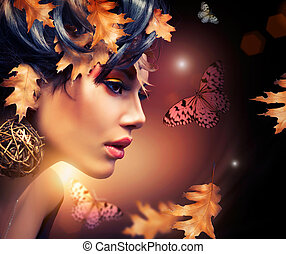 가을, 여자, portrait., 유행, 가을