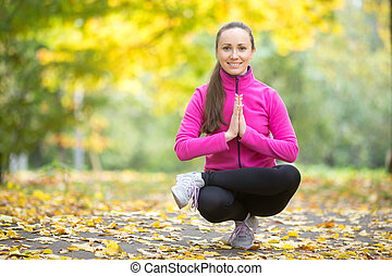 가을, fitness:, 자세, toestand