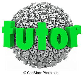 가정교사, 수, 공, 구체, 교육, 비공개의, 수업, 학습