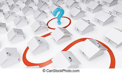 가정, 물음표, 통하고 있는, a, 백색 배경