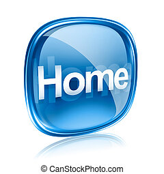 가정, 아이콘, 푸른 글래스, 고립된, 백색 위에서, 배경