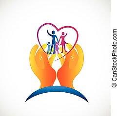 가족 건강, 걱정, 상징, 로고