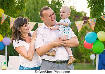 가족, 경축하는, 생일, 아기, 행복하다, 처음