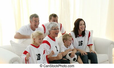 가족, 경축하는, a, 목표, 집의