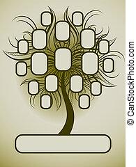 가족, 벡터, 나무, 디자인