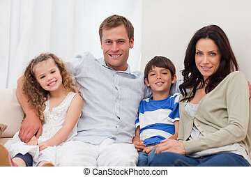 가족, 소파에 앉는, 함께