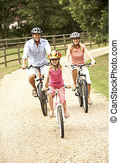 가족, 순환, 에서, 시골, 입는 것, 안전, 헬멧