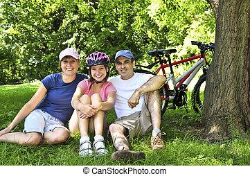 가족, 쉬는 것, 에서, a, 공원