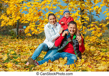 가족, 에, 가을, 공원
