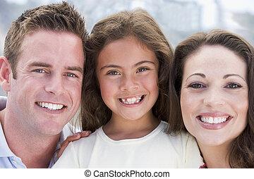 가족, 옥외, 미소
