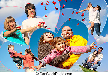 가족, 와, 아이들, 와..., 나이 적은 편의, 한 쌍, scatters, 꽃잎, 의, 장미, 향하여, 하늘, 콜라주, 에서, 심혼은 형성한다