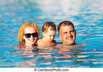 가족, 웅덩이, 행복하다