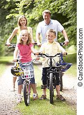 가족, 자전거를 타는 것, 에서, 시골