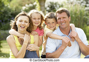 가족, 재미를 있는, 에서, 시골
