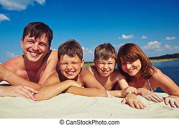 가족, 통하고 있는, 모래