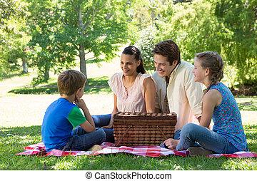 가족, 통하고 있는, a, 피크닉, 공원안에