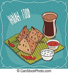 간단한 식사, 차, chai, 인도 사람, masala, 소스, samosa