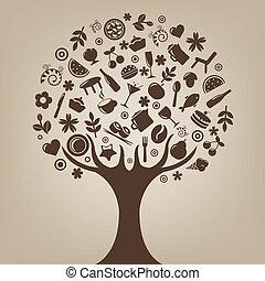 갈색의, 나무