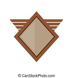 갈색의, 방패, 날 수 있는, 모양, 기하학이다, 기장