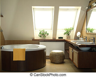 갈색의, 욕실