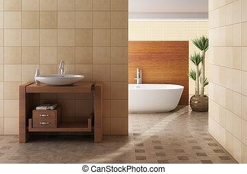 갈색의, 욕실, 포함하는 것, 물 버리는 곳, 목욕