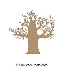 갈색의, 큰 나무