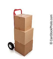 갈색의, 판지, 움직이는 박스, 백색 위에서, 와, a, 깨지기 쉽다, 스티커