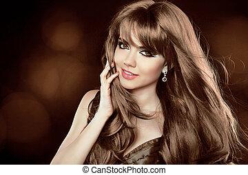갈색의, hairstyle., 꼬부라진, 길게, 소녀, 인력이 있는, hair., woman., 행복한미소