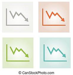 감소하는 것, 그래프, 아이콘