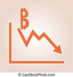 감소하는 것, 그래프, 와, bitcoin, symbo