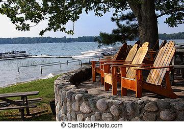 갑판 의자, 멀리 바라보는 것, 호수, 와, 보트
