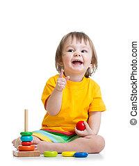 갓난 남자 아기, 노는 것, 와, 다채로운, 장난감