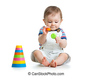 갓난 남자 아기, 노는 것, 와, 장난감, 고립된, 백색 위에서, 배경